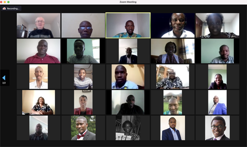 Screen grab from zoom meeting with many faces